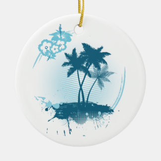 Summer feeling round ceramic decoration
