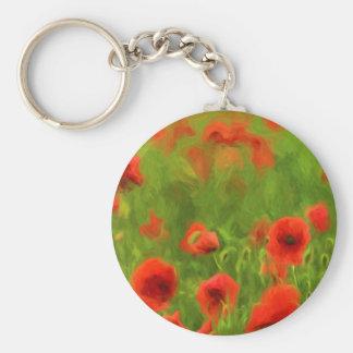 Summer Feelings - wonderful poppy flowers II Basic Round Button Key Ring