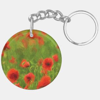 Summer Feelings - wonderful poppy flowers II Double-Sided Round Acrylic Key Ring