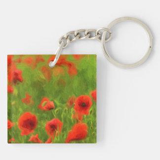 Summer Feelings - wonderful poppy flowers II Double-Sided Square Acrylic Key Ring