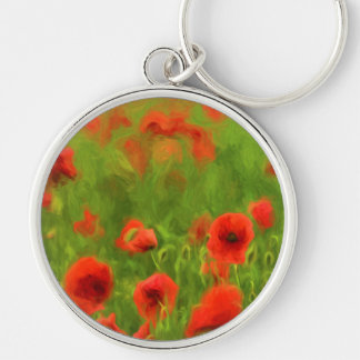 Summer Feelings - wonderful poppy flowers II Silver-Colored Round Key Ring