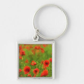 Summer Feelings - wonderful poppy flowers II Silver-Colored Square Key Ring