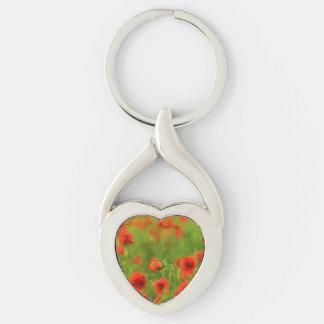 Summer Feelings - wonderful poppy flowers II Silver-Colored Twisted Heart Key Ring