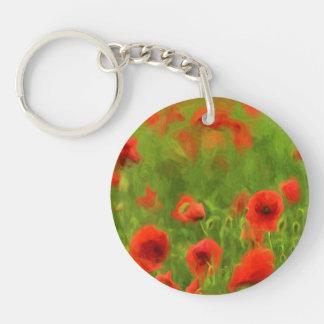 Summer Feelings - wonderful poppy flowers II Single-Sided Round Acrylic Key Ring