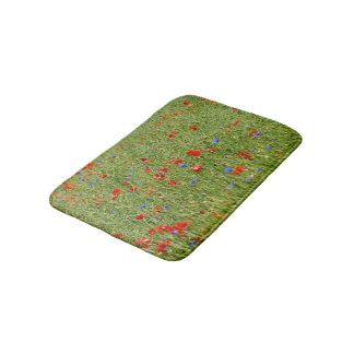 Summer field with red and blue flowers bath mats