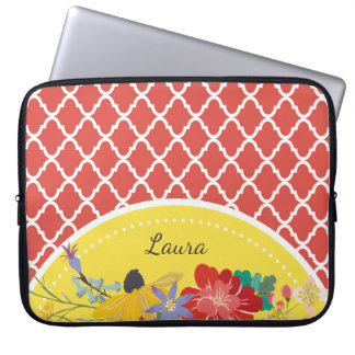 Summer Fiesta Red Floral Quatrefoil With Name Laptop Sleeve