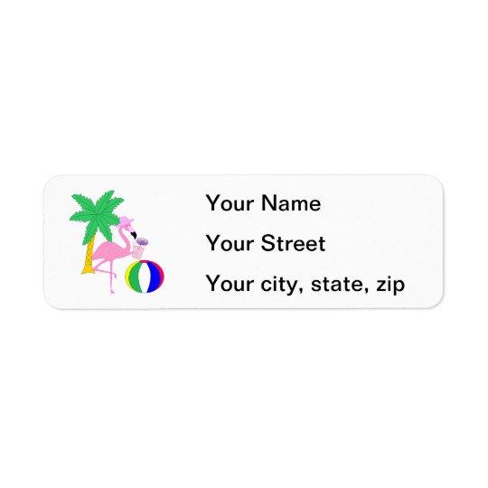 Summer Flamingo Return Address Label