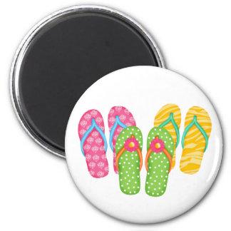 Summer Flip Flops 6 Cm Round Magnet