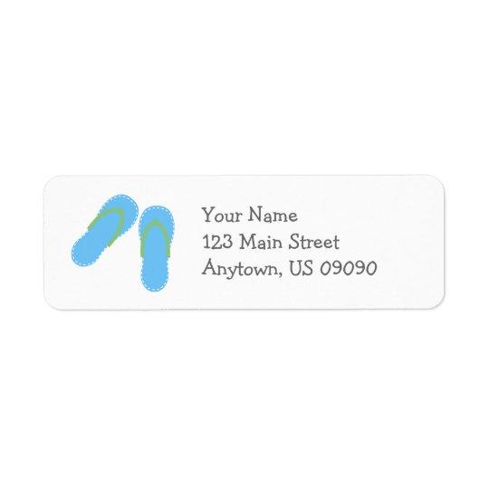 Summer Flip Flops Address Labels (Blue / Green)