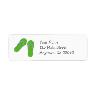 Summer Flip Flops Address Labels (Green / Violet)