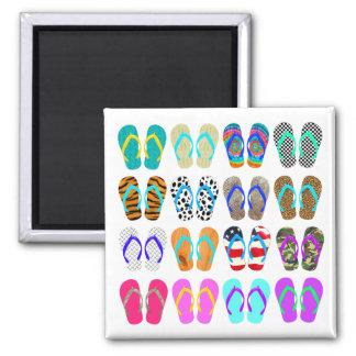 Summer Flip-Flops Chart Square Magnet