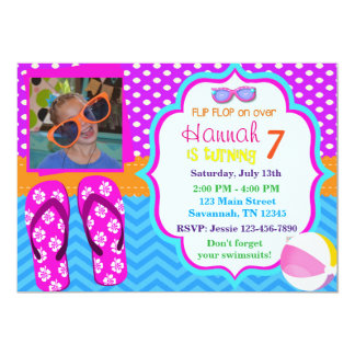 Summer Flip Flops & Sun glasses Birthday Inviation Card