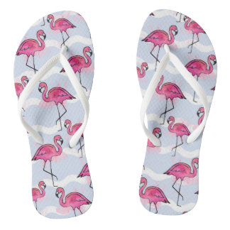 Summer Flip-Flops with Pink Flamingos Flip Flops