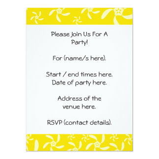 Summer Floral Design. Sunny Yellow. 17 Cm X 22 Cm Invitation Card