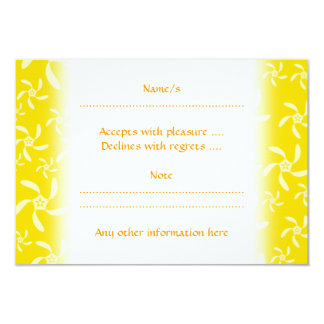 Summer Floral Design. Sunny Yellow. 9 Cm X 13 Cm Invitation Card