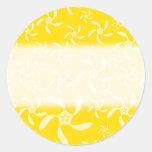 Summer Floral Design. Sunny Yellow. Round Sticker