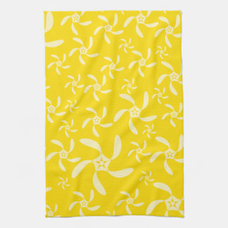Summer Floral Design. Sunny Yellow. Tea Towel