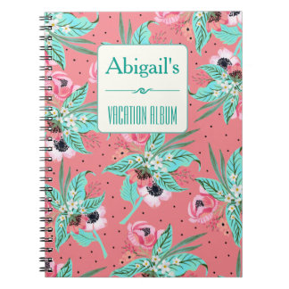 Summer Floral Pattern Coral Personalized Notebook