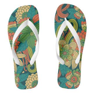 Summer floral pattern flip flops