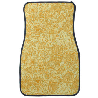 Summer floral pattern in warm colors car mat