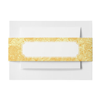 Summer floral pattern in warm colors invitation belly band