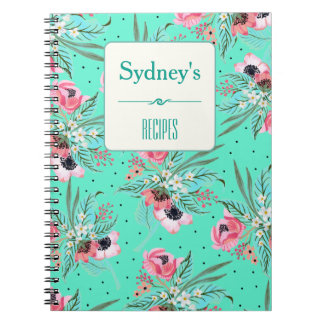 Summer Floral Pattern TEAL Personalized Notebook