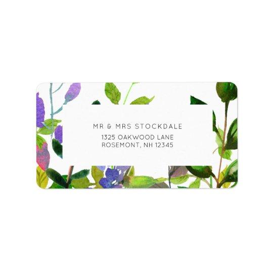 Summer Floral Watercolor Wedding Return Label