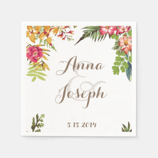 Summer Floral Wedding Napkin Paper Napkin