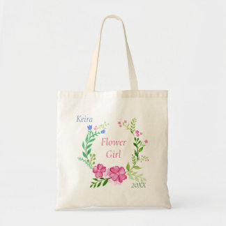 Summer Floral Wreath Personalized Flower Girl Tote