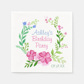 Summer Floral Wreath Personalized Paper Nakins Paper Napkin