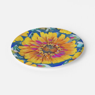 Summer Flower in Full Bloom 7 Inch Paper Plate