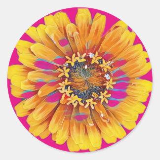 Summer Flower in Full Bloom Classic Round Sticker