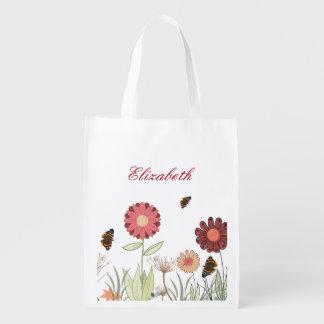 Summer flower meadow Brown burgundy Reusable Grocery Bag
