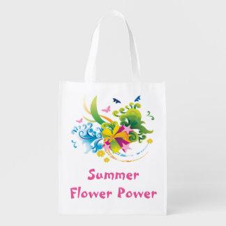 Summer Flower Power Reusable Grocery Bag