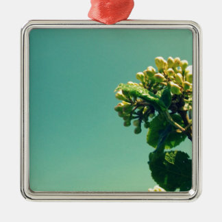 Summer Flower Silver-Colored Square Decoration