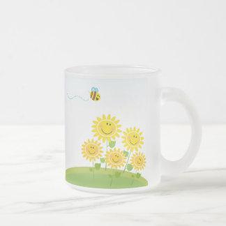 Summer Flower with Honey Bee Glass Mug