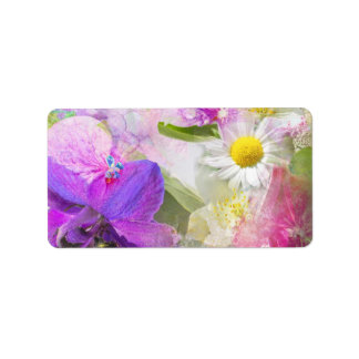 Summer flowers address label