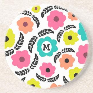 Summer Flowers and Black Leaf Coaster