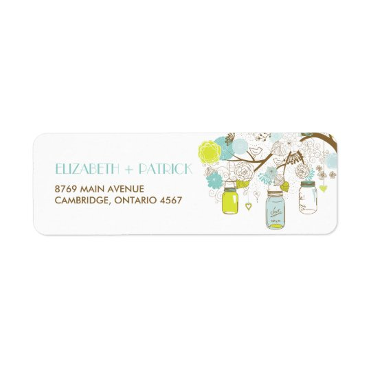 Summer Flowers and Mason Jars Spring Address Label