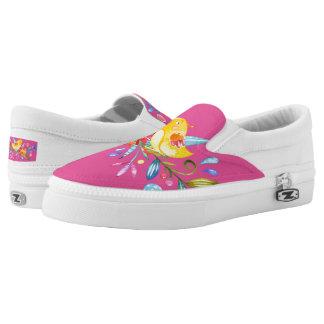 Summer Flowers-&-Birds Zipz Slip-On ShoesUS-Women Printed Shoes