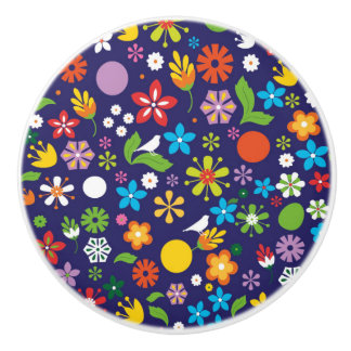 Summer Flowers Ceramic Knob