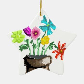 Summer Flowers Ceramic Star Decoration
