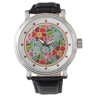 Summer flowers cross stitch embroidery retro watch