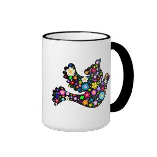 Summer Flowers Dove Ringer Mug