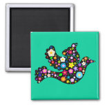 Summer Flowers Dove Square Magnet