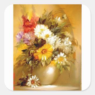 Summer Flowers in A Golden Vase Stickers