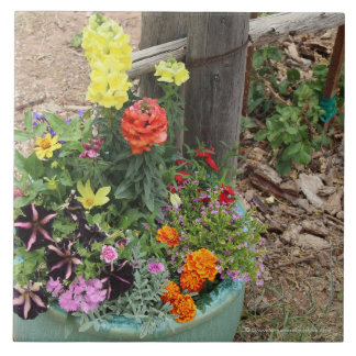 Summer Flowers in Turquoise Pot Photograph Large Square Tile