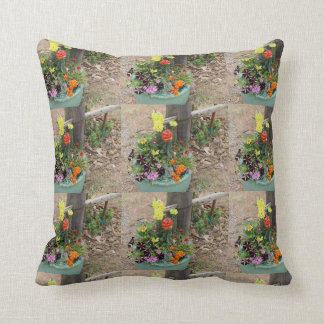 Summer Flowers in Turquoise Pot Photograph Throw Pillow