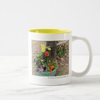 Summer Flowers in Turquoise Pot Photograph Two-Tone Coffee Mug
