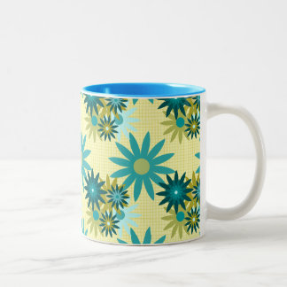 Summer Flowers on Grid 11 oz Two-Tone Mug